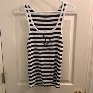 J.Crew striped anchor tank top, size large